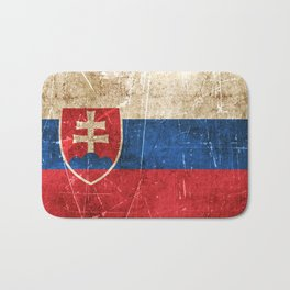 Vintage Aged and Scratched Slovakian Flag Bath Mat