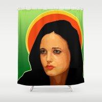 madonna Shower Curtains featuring Eva or Madonna? 2 by Vito Fabrizio Brugnola