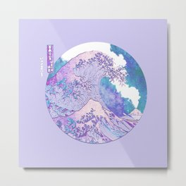 Great Wave Off Kanagaw Eruptiion of Mount Fuji and Stars-Hokusai Metal Print