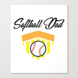 Softball And Dad For Men - Fathers Day Gifts Canvas Print