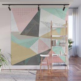 Stylish gold triangles geometric design Wall Mural