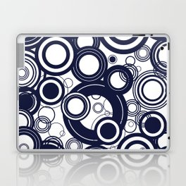 Contemporary Circles Modern Geometric Pattern in Navy Blue and White Laptop & iPad Skin