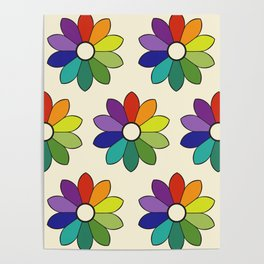Flower pattern based on James Ward's Chromatic Circle (enhanced) Poster