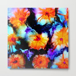 Colorful Abstract Flower Painting Orange Purple Black Metal Print