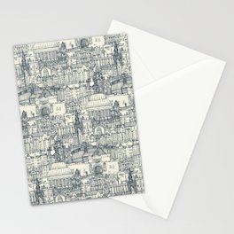 Edinburgh toile indigo pearl Stationery Cards