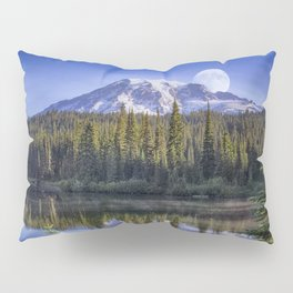 Moon Rise Over Mt. Rainier Pillow Sham