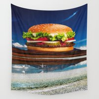 hamburger Wall Tapestries featuring Mount Saint Hamburger by Imogen Art