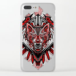 Wolf tattoo style hai Clear iPhone Case