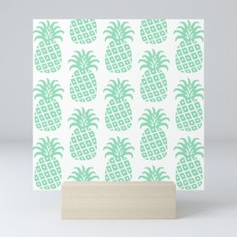 Retro Mid Century Modern Pineapple Pattern Mint Green Mini Art Print