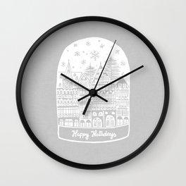 Linocut White Holidays Wall Clock