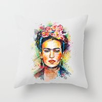 sister Throw Pillows featuring Frida Kahlo by Tracie Andrews