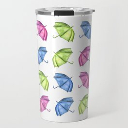 Colorful Umbrella Pattern Travel Mug