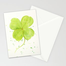 Watercolor 4 leaf Clover Stationery Cards