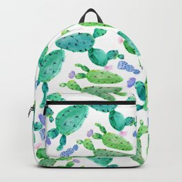 Watercolor hand painted violet green cactus floral Backpack