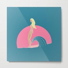 """Hang Ten"" Surfer Girl on Longboard Metal Print"