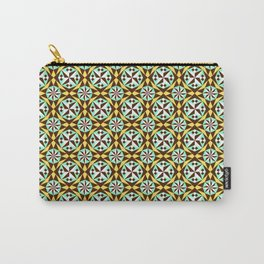 Barcelona cement tile in yellow, brown and blue Carry-All Pouch