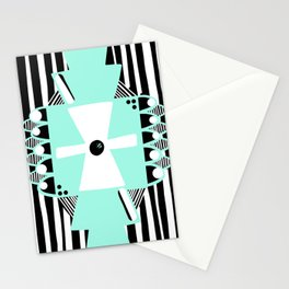 Black and White Squares and Stripes II Stationery Cards