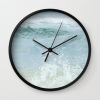salt water Wall Clocks featuring Salt Water for the Soul by Bella Blue Photography