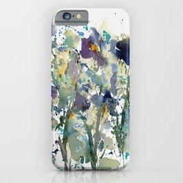 Iris Garden watercolor painting iPhone Case