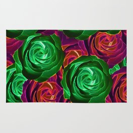 closeup rose pattern texture abstract background in red and green Rug