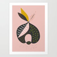apple Art Prints featuring Apple by FLATOWL