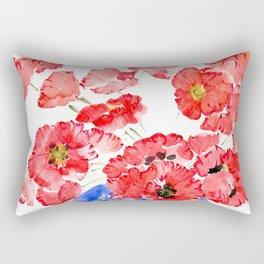 Crimson Corn Poppies in Blue Vase Rectangular Pillow