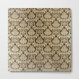 Elegant brown faux gold vintage floral damask Metal Print