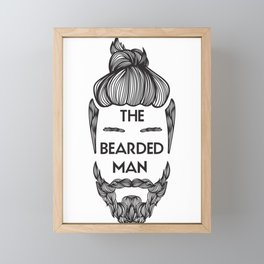 Bearded Man with Man Bun Beard Lover Framed Mini Art Print