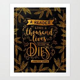 Thousand Lives - gold Art Print