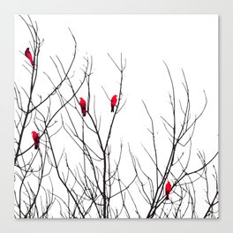 Artistic Bright Red Birds on Tree Branches Canvas Print