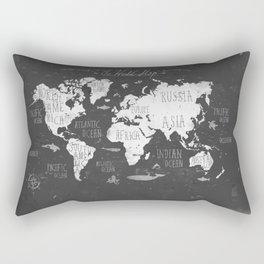 The World Map B/W Rectangular Pillow