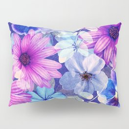 Dark pink and blue floral pattern Pillow Sham