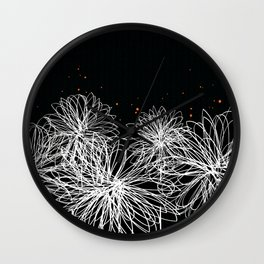 Black Doodle Floral by Friztin Wall Clock