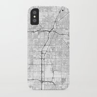 las vegas iPhone & iPod Cases featuring Las Vegas Map Gray by City Art Posters