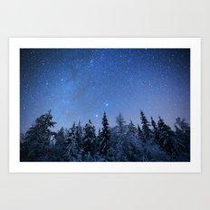 Shimmering Blue Night Sky Stars 2 Art Print