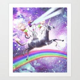 Lazer Rave Space Cat Riding Unicorn With Ice Cream Art Print
