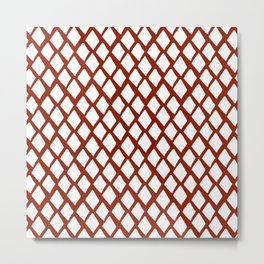 Rhombus White And Red Metal Print