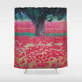 Olive Tree in Poppy Field Shower Curtain
