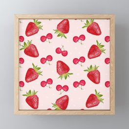Strawberries Cherries Fiesta Pattern Framed Mini Art Print