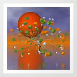 fancy tree and full moon -1- Art Print