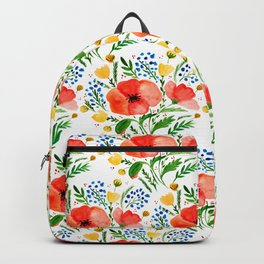 Flower bouquet with poppies - red, yellow and blue Backpack