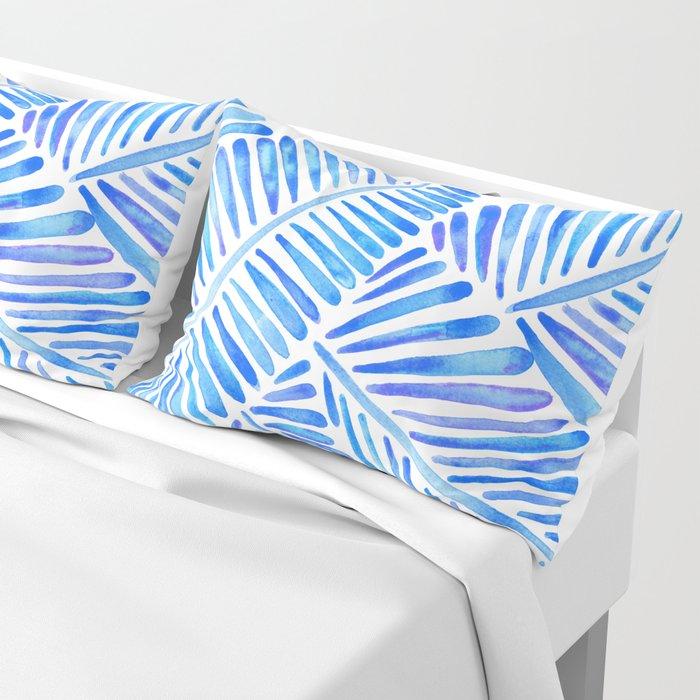 Tropical Banana Leaves – Blue Palette Pillow Sham