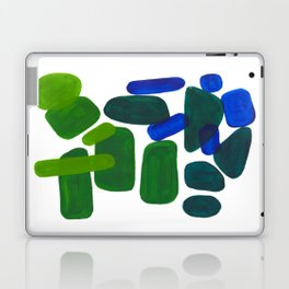 Mid Century Vintage Abstract Minimalist Colorful Pop Art Phthalo Blue Lime Green Pebble Shapes Laptop & iPad Skin
