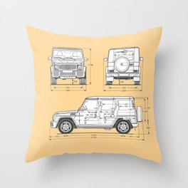 GWAGON BLUEPRINT (yellow) Throw Pillow