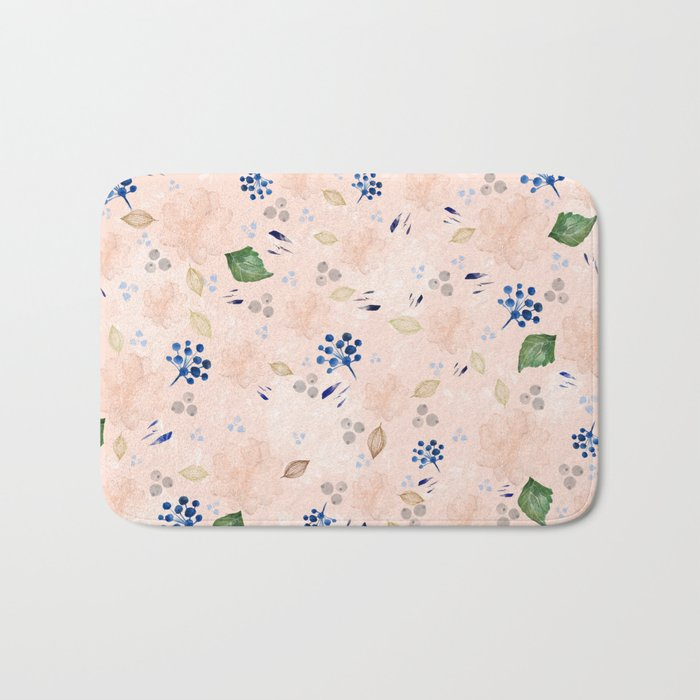 Watercolor and gold nature pattern Bath Mat