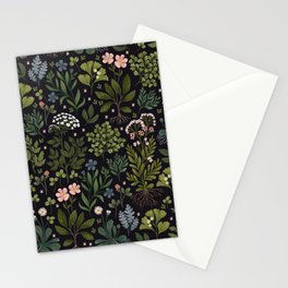 Herbarium ~ vintage inspired botanical art print ~ black Stationery Cards