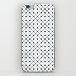 PPG Night Watch Pewter Green Thin Line Stripe Grid (Pinstripe) and Polka Dots on White iPhone Skin
