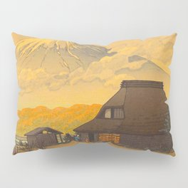 Vintage Japanese Woodblock Print Sepia Japanese Farm Mount Fuji Farmer Pillow Sham