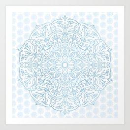 Blue Delicate Nature Mandala Art Print