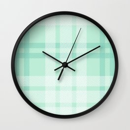 Mint Plaid Wall Clock